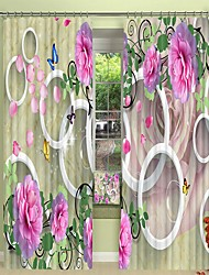cheap -Blooming Pink Flower Digital Printing 3D Curtain Shading Curtain High Precision Black Silk Fabric Curtain