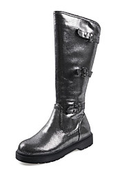 cheap -Women's Boots Knee High Boots Low Heel Round Toe Buckle PU Knee High Boots Casual / British Fall & Winter Black / Silver