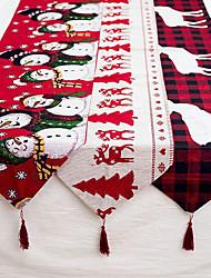 abordables -lin noël élan bonhomme de neige chemin de table joyeux décorations de noël pour la maison 2019 ornements de noël