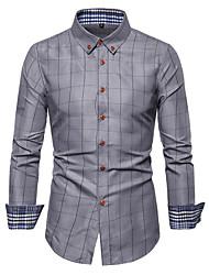 cheap -Men's Plus Size Geometric Check Print Shirt - Cotton Basic Daily Wine / White / Navy Blue / Gray / Long Sleeve