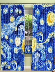 cheap -Oil Painting Style Star Digital Printing 3D Curtain Shading Curtain High Precision Black Silk Fabric High Quality Curtain