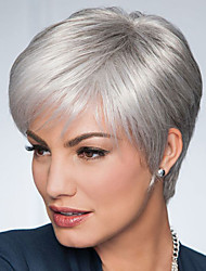 cheap -Synthetic Wig Cosplay Wig Straight Pixie Cut Side Part Wig Short Grey Synthetic Hair 8 inch Women's Adjustable Party Women Gray Ombre Laflare