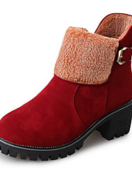 cheap -Women's Boots Chunky Heel Round Toe Buckle Suede Booties / Ankle Boots Casual Fall Black / Brown / Red