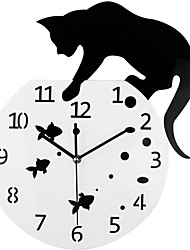 cheap -Black Fishbowl Cat Wall Clock Cat on Clock 3D Mirror Design DIY Watch For Home Living Room Decoration
