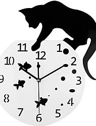 abordables -black fishbowl chat horloge murale chat sur l'horloge 3d miroir conception diy montre pour la maison salon décoration