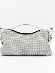 cheap -Women's Crystals Polyester / Alloy Evening Bag Solid Color Silver