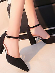 cheap -Women's Heels Chunky Heel Pointed Toe Cowhide / PU Summer Black / Dark Brown / Pink / Daily