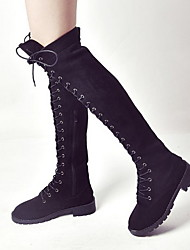 cheap -Women's Boots Over-The-Knee Boots Low Heel Round Toe PU Over The Knee Boots Fall & Winter Black / Brown / Green
