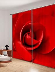 abordables -gros plan rose impression numérique 3d rideau ombrage rideau haute précision noir tissu de soie haut rideau wuality