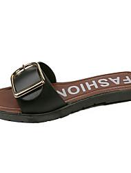 cheap -Women's Slippers & Flip-Flops Low Heel Open Toe Buckle Faux Leather Classic / Minimalism Spring & Summer Black / Beige