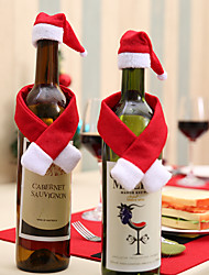 cheap -2pcs/set Scarf Hat Creative Christmas Home Decoration For Wine Bottle New Year Eve Xmas Party Home Dinner Table Decors