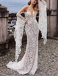 cheap -Sheath / Column Off Shoulder Sweep / Brush Train Lace Long Sleeve Made-To-Measure Wedding Dresses with 2020