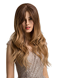 cheap -Synthetic Wig Curly Body Wave Side Part Neat Bang With Bangs Wig Blonde Ombre Long Ombre Color Synthetic Hair 24 inch Women's Cosplay Women Synthetic Blonde Ombre HAIR CUBE