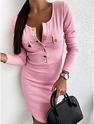 cheap -Women's Daily Wear Basic Sheath Dress - Solid Colored Black Blushing Pink Khaki S M L XL