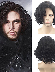 cheap -Synthetic Wig Cosplay Wig Peruke & Periwig Curly Afro Curly Style Bob Side Part Wig Short Synthetic Hair 14 inch Men's Cosplay Creative Party Black Wig / Yes
