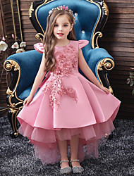 cheap -Kids Girls' Active Sweet Solid Colored Lace Short Sleeve Midi Dress Blushing Pink