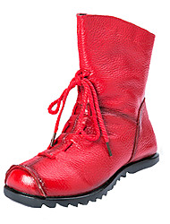 cheap -Men's Combat Boots Leather Fall Casual Boots Wear Proof Mid-Calf Boots Black / Red