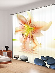 cheap -Light Yellow Lily Digital Printing 3D Curtain Shading Curtain High Precision Black Silk Fabric High Quality Curtain