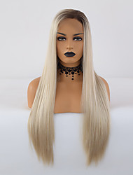 cheap -Synthetic Lace Front Wig Silky Straight Side Part Lace Front Wig Blonde Ombre Long Blonde Synthetic Hair 18-24 inch Women's Adjustable Heat Resistant Synthetic Blonde Ombre / Ombre Hair