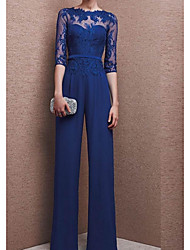 cheap -Pantsuit / Jumpsuit Jewel Neck Floor Length Chiffon 3/4 Length Sleeve Elegant / See Through Mother of the Bride Dress with Appliques 2020