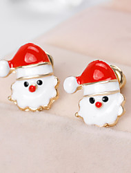 cheap -Women's Stud Earrings 3D Santa Suits Precious Fashion Gold Plated Earrings Jewelry White For Christmas Party Gift Festival 1 Pair
