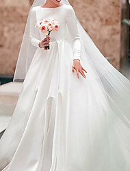 cheap -A-Line Jewel Neck Court Train Satin Long Sleeve Simple Elegant Wedding Dresses with 2020