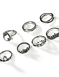 cheap -Ring Silver Alloy Elegant Holiday European 7 pieces Adjustable / Women's
