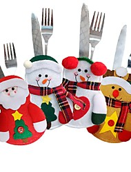 cheap -4pcs Christmas Cutlery Table Bag  Cutlery Pocket Knife Tableware Bag Santa Claus Dinner Table Home Decoration