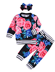 cheap -Baby Girls' Casual / Active Rose Floral Print Long Sleeve Long Clothing Set Black