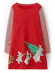 cheap -Kids Girls' Christmas Dress Red