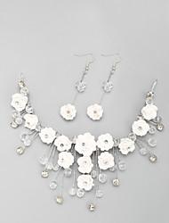 cheap -Women's Head Jewelry Hoop Earrings European Imitation Pearl Rhinestone Earrings Jewelry White For Wedding 1 set / Hair Jewelry