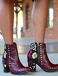 cheap -Women's Boots Print Shoes Chunky Heel Round Toe Suede Booties / Ankle Boots Fall & Winter Brown / Burgundy