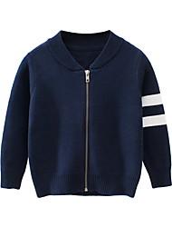 abordables -Enfants Garçon Chic de Rue Rayé Coton Pull & Cardigan Bleu Roi
