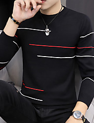 cheap -Men's Color Block Long Sleeve EU / US Size Pullover Sweater Jumper, Round Fall / Winter Black / Yellow / Light Green US32 / UK32 / EU40 / US34 / UK34 / EU42 / US36 / UK36 / EU44
