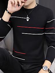 cheap -Men's Color Block Long Sleeve Pullover Sweater Jumper, Round Fall / Winter Light Brown / Black / Orange US32 / UK32 / EU40 / US34 / UK34 / EU42 / US36 / UK36 / EU44