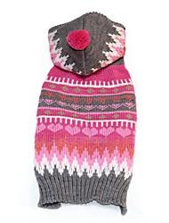 cheap -Dogs Sweater Winter Dog Clothes Fuchsia Costume Corgi Beagle Shiba Inu Acrylic Fibers Geometric Casual / Daily Warm Ups XXS XS S M L