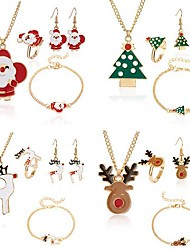 cheap -Women's Chain Bracelet Drop Earrings Necklace Santa Suits Elk Deer Earrings Jewelry Brown / White / Green For Christmas Four-piece Suit / Ring