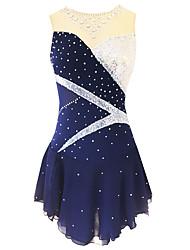 abordables -21Grams Robe de Patinage Artistique Femme Fille Patinage Robes Rose clair Violet Bleu Ciel Spandex Fil élastique Micro-élastique Entraînement Tenue de Patinage Classique Cristal / Stras Sans Manches