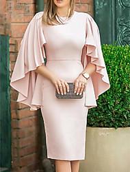 cheap -Sheath / Column Elegant Holiday Cocktail Party Valentine's Day Dress Jewel Neck 3/4 Length Sleeve Knee Length Satin with Ruffles 2021