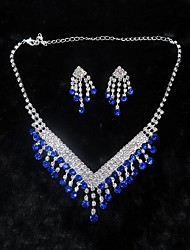 cheap -Women's Drop Earrings Choker Necklace Pendant Necklace Tassel Precious Unique Design Fashion Silver Plated Earrings Jewelry Blue For Wedding Party Holiday 1 set / Bridal Jewelry Sets