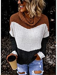 cheap -Women's Striped Pullover Long Sleeve Sweater Cardigans Turtleneck Light Brown Army Green Brown