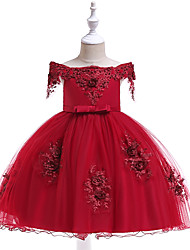 cheap -Kids Toddler Girls' Active Cute Floral Jacquard Christmas Sequins Bow Layered Short Sleeve Knee-length Dress Wine