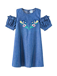 cheap -Kids Girls' Sweet Floral Embroidered Short Sleeve Above Knee Dress Blue