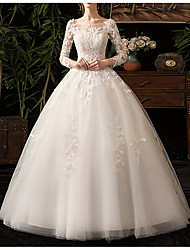 cheap -Ball Gown Bateau Neck Floor Length Lace / Tulle Long Sleeve Country Backless / Illusion Sleeve Wedding Dresses with Appliques 2020 / Yes
