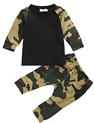 cheap -Baby Boys' Active Basic Print Print Long Sleeve Regular Regular Clothing Set Army Green / Toddler