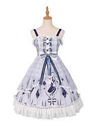 cheap -Glamorous & Dramatic Sweet Lolita Cute Dress Girls' Female Japanese Cosplay Costumes Blue Bowknot Lace Portrait Sleeveless Sleeveless Knee Length