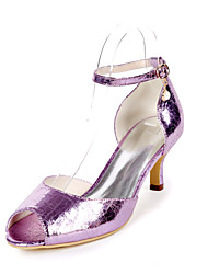 cheap -Women's Heels Stiletto Heel Peep Toe Imitation Pearl PU Minimalism Fall / Spring & Summer Champagne / Light Purple / Silver / Party & Evening