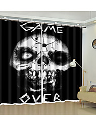 cheap -Halloween Fabric Decoration Night Skull Digital Printing 3d Curtain Festival Halloween Shading Curtain High Precision Black Silk Fabric High Quality Level Shading Bedroom Living Room Curtain