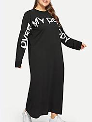 abordables -Femme Chic de Rue Au dessus du genou Tee Shirt Robe Couleur Pleine Lettre Noir XL XXL XXXL Manches Longues