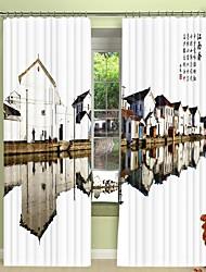 cheap -Reflection of Jiangnan Town Digital Printing 3D Curtain Shading Curtain High Precision Black Silk Fabric High Quality Curtain